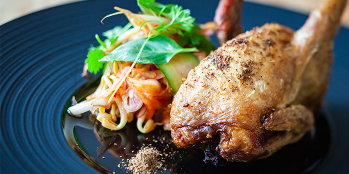 Poached French Quail from The Sampan in Boat Quay, Singapore