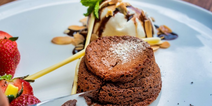 Chocolate Lave Cake with Ice Cream from The Seagrill at Changi, Singapore