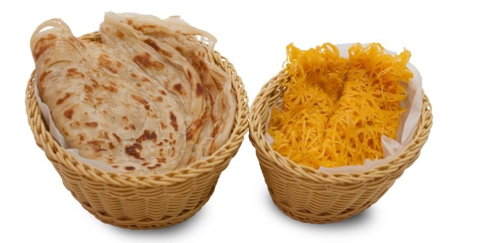 Prata & Roti Jala from Tulasi Vegetarian Restaurant & Cafe in Little India, Singapore