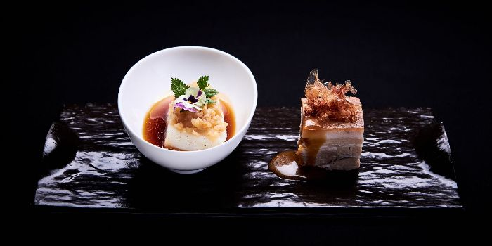 Seabass topped with Miso Pork Belly from Mitzo Restaurant & Bar in Grand Park Orchard along Orchard Road, Singapore