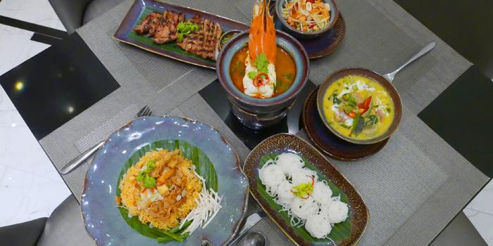 Selection of Food from Thai Thai by Mesamis Cafe at Grande Centre Point Hotel Soi Mahat Lek Luang 1, Ratchadamri Road Bangkok