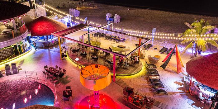 Night Outdoor of Kudo Beach Club & Italian Restaurant in Patong, Phuket, Thailand.
