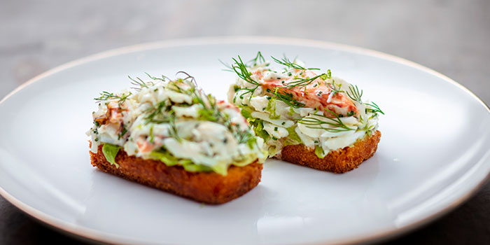 Crab Mayonnaise & Dill on Beef Dripping Toast, Gough