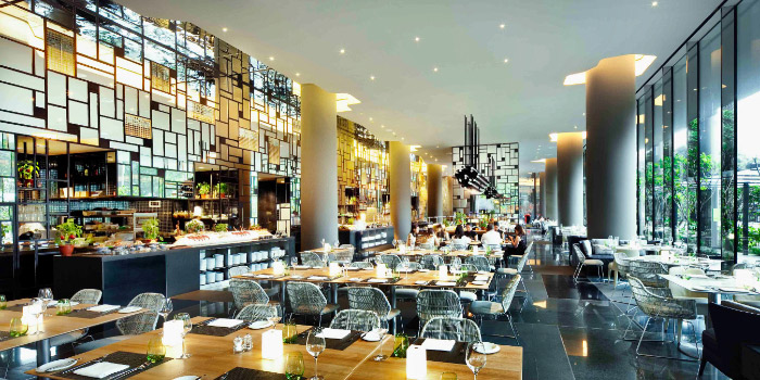 Interior of Lime Restaurant at PARKROYAL COLLECTION Pickering in Chinatown, Singapore