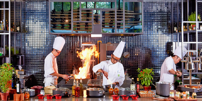 Kitchen Show from Lime Restaurant at PARKROYAL COLLECTION Pickering in Chinatown, Singapore