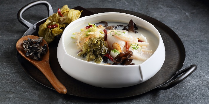 Poached Fish with Mustard Greens in Hot & Sour Soup from Crystal Jade Jiang Nan (VivoCity) in Harbourfront, Singapore