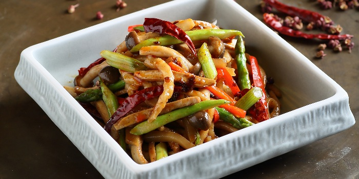 Sauteed Spicy Shredded Pork with Assorted Mushrooms & Asparagus from Crystal Jade Jiang Nan (VivoCity) in Harbourfront, Singapore