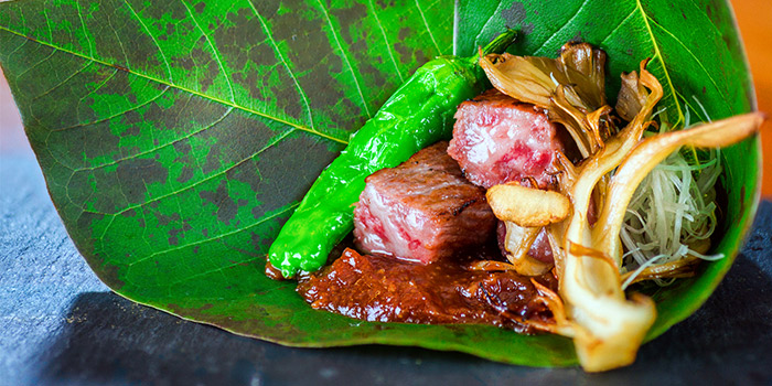 Wagyu Served on Leaf from Ichida Japanese Dining in Club Street, Singapore