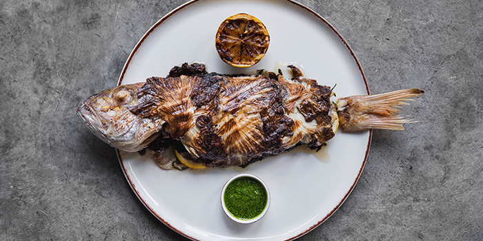Sea Bream with Salsa Verde and Burnt Lemon from LINO in Bukit Timah, Singapore