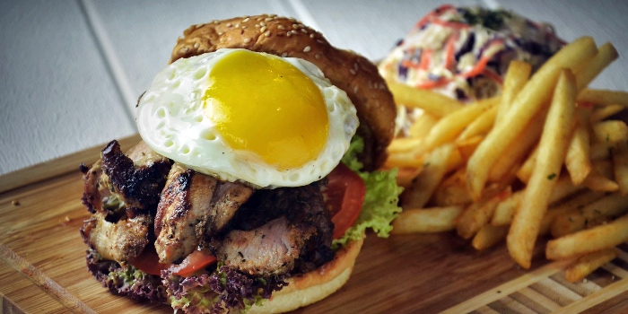 Grilled Chicken & Egg Burger from Meats N Malts at BreadTalk IHQ in Tai Seng, Singapore
