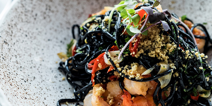 Tagliatelli Nero Gambero at Skye Restaurant