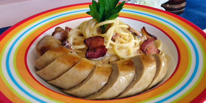 Spaghetti Carbonara with Veal Sausage from The Tavern Restaurant in River Valley, Singapore