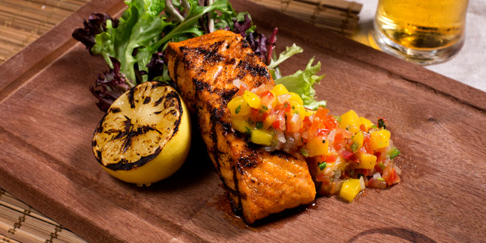 Grilled Salmon from Cali-Mex Bar and Grill at Holiday Inn Sukhumvit Hotel Ground Floor, 999/34, Sukhumvit Rd. Khlong Tan, Khlong Toei Bangkok