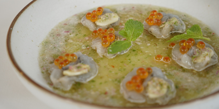 Shrimp Cappacio from Lerdtip Thonglor by Chef Gigg at 85 Sukhumvit Rd., Khlong Tan Nuea Watthana, Bangkok