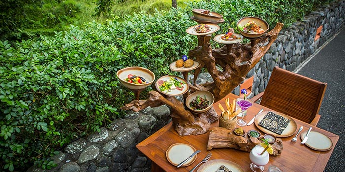 Tree-jsttafel at Plantation Restaurant (Alila Ubud)