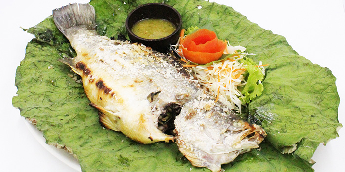 Charcoal Grill Seabass with Sea Salt from By Bua Lasalle at Lasalle