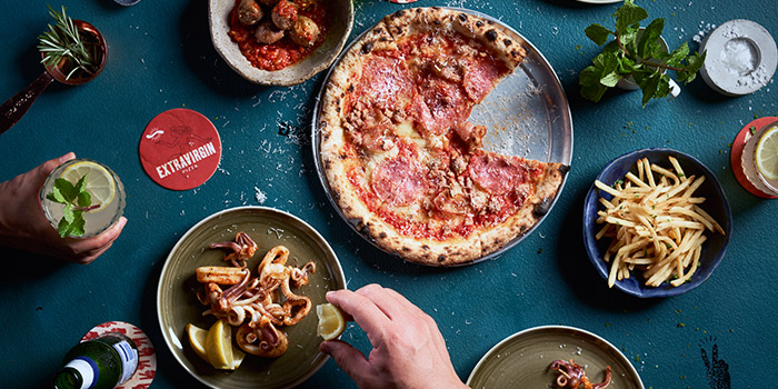 Food Spread from Extra Virgin Pizza (Asia Square) in Raffles Place, Singapore