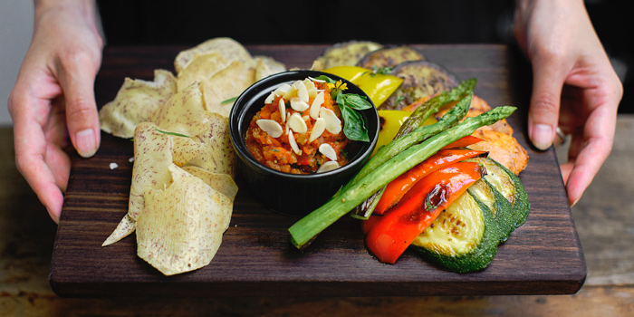 Grilled Vegetable & Spicy Almond Dip from Mellow Restaurant & Bar at Penny