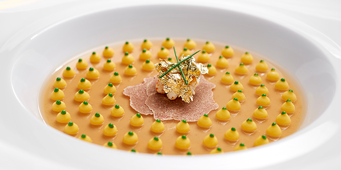 Foie Gras Symphony on a Delicate Jelly, Light Corn Puree from Bacchanalia by Vianney Massot on Hongkong Street in Clarke Quay, Singapore