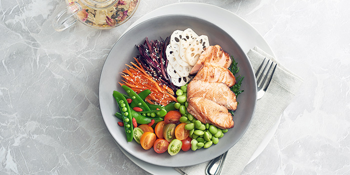 Grilled Salmon Bowl from Clan Cafe at Outram, Singapore