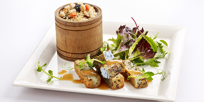 Blue Flower Tofu with Black Truffle Wild Rice from Elemen @ HarbourFront Centre in HarbourFront, Singapore