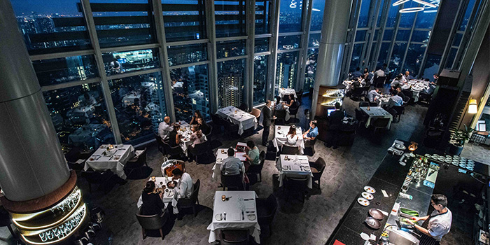 Interior of Salt grill & Sky Bar during the day, at ION Orchard in Singapore