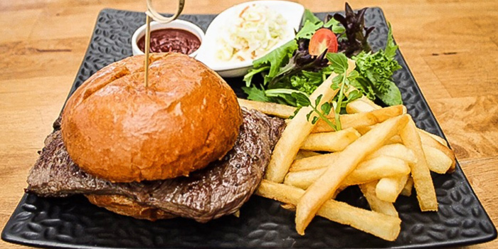 Beef Steak Burger with French Fries and Salad from Takada Grill & Bar in Tanjong Pagar, Singapore