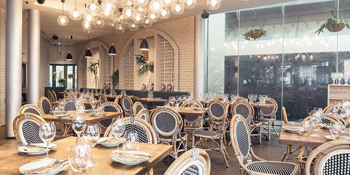 Dining Room of The Botanic Restaurant at Raffles City Shopping Centre in City Hall, Singapore