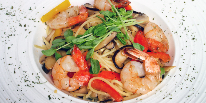 Prawn Aglio Olio from The Lazy Garden Cafe in City Square Mall in Little India, Singapore