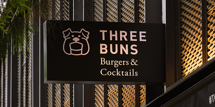 Signboard of Three Buns Quayside in Robertson Quay, Singapore