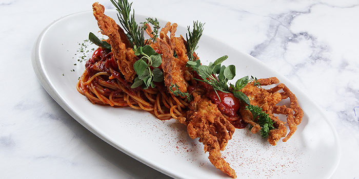 Spaghettini Soft Shell Crab with Arrabiatta at Pasta Marche AWkitchen PIK Avenue