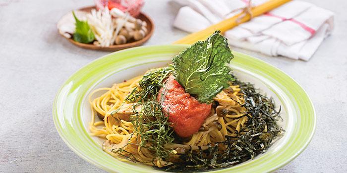 Spaghettini Spicy Cod Roe and Japanese Mushrroms in Garlic Oil at Pasta Marche AWkitchen PIK Avenue