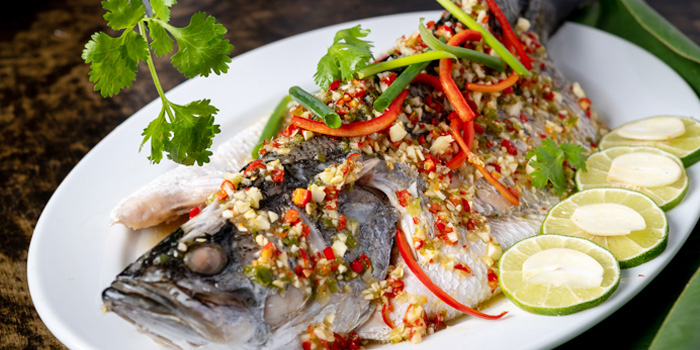 Steamed Fish from Silk Restaurant and Bar in Kamala, Kathu, Phuket, Thailand