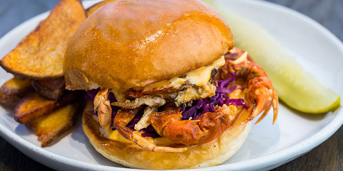 Soft Shell Crab Burger, Feather & Bone (Mid-Levels), Mid Levels, Hong Kong