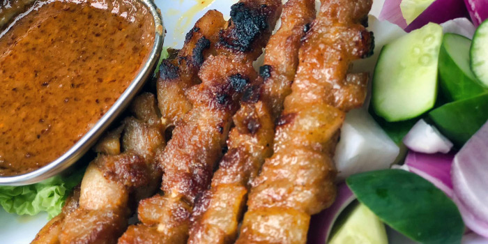 Chicken and Pork Satay from Bar-beque along Prinsep Street in Dhoby Ghaut, Singapore