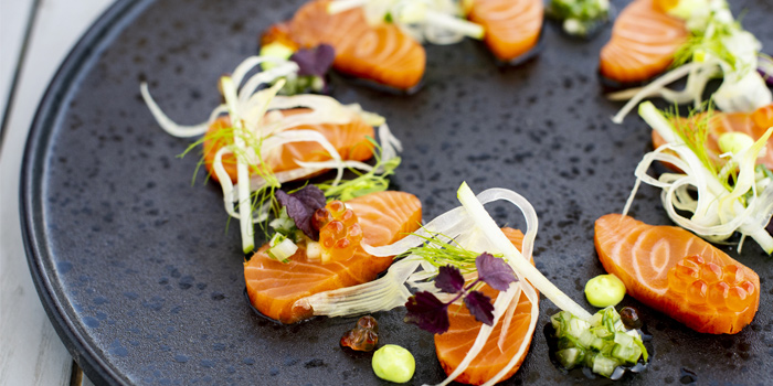Cold-Smoked-Native-Hebridean-Salmon from Prime at The Nai Harn, Phuket, Thailand.