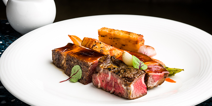 Grilled ribeye with creamy carrots, and ginger glazed shallots, Spiga, Central, Hong Kong