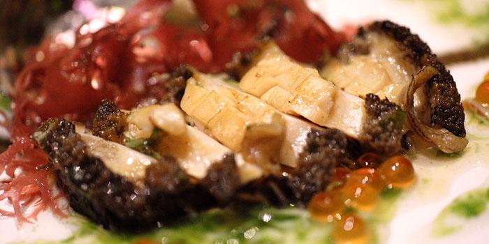 Live Abalone and Salmon Roe with Taraba Crab Alga Sauce, Kamon Teppanyaki, Causeway Bay, Hong Kong
