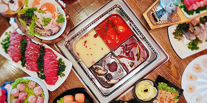 Food Spread from Hotpot Heroes 火鍋英雄 in Tanjong Katong, Singapore