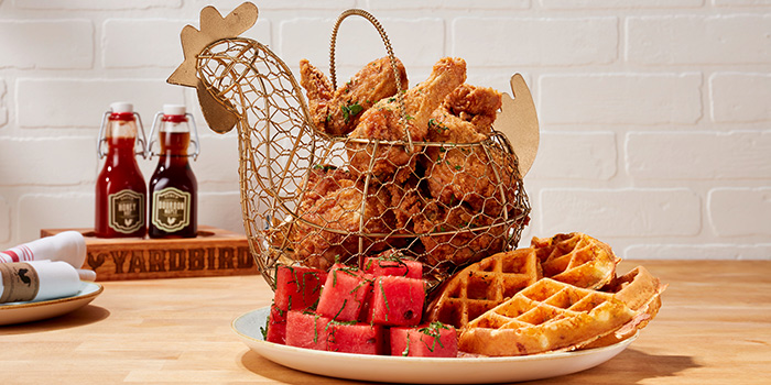 Golden Chicken & Watermelon & Waffles from Yardbird Southern Table & Bar at The Shoppes at Marina Bay Sands in Marina Bay, Singapore