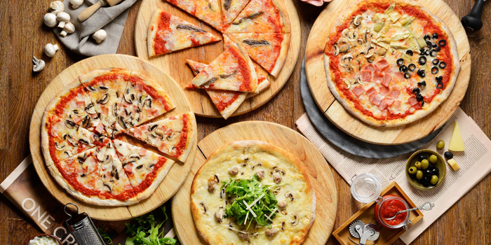 Selection of Pizza from Terrazza Italian Restaurant at Pathumwan Princess Hotel G floor, 444 MBK Center Phayathai Road Wangmai, Pathumwan Bangkok