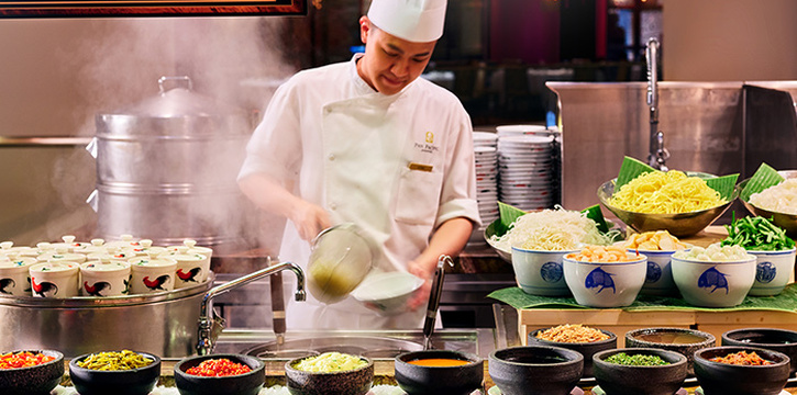 Double boiled soup and noodle station from Edge at Pan Pacific Singapore in Promenade, Singapore