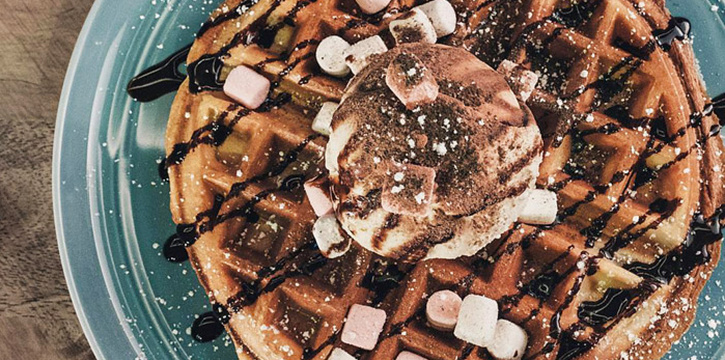 Waffles from 7th Heaven KTV & Cafe at SAFRA Tampines in Tampines, Singapore