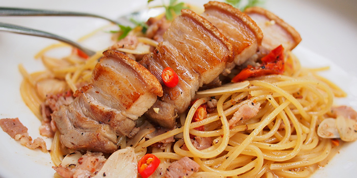 Aglio Olio Pork Belly from Privé Somerset in Orchard, Singapore