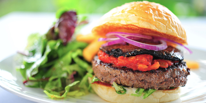 Burger from Privé Somerset in Orchard, Singapore