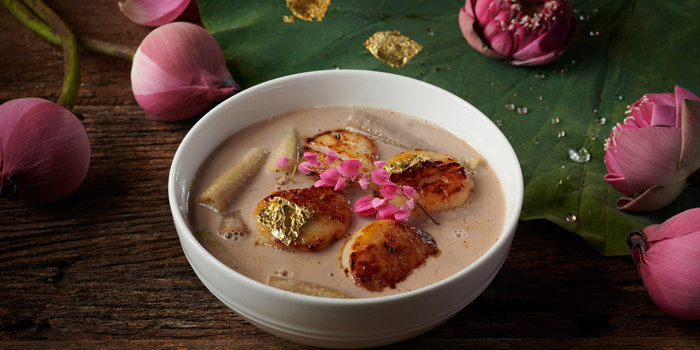 Coconut Soup with Lotus stem Hokkaido Scallop from Saneh Jaan at G/F, Sindhorn Tower 130-132 Wireless Road Pathumwan Bangkok
