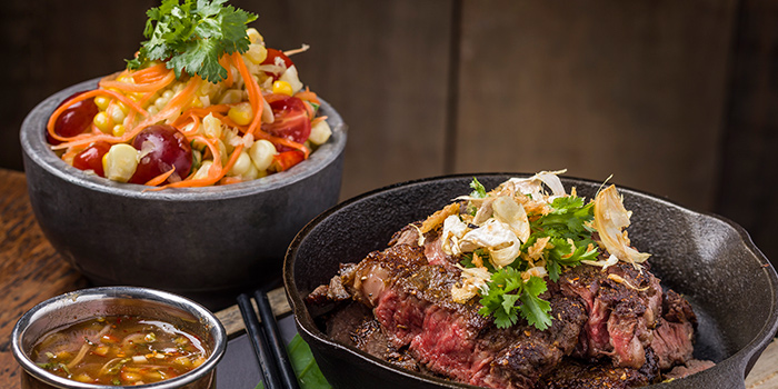 Cumin and fennel crusted rib eye beef with Bangkok style sweet corn and grape & cherry tomato som tum, Mamasan, Central, Hong Kong