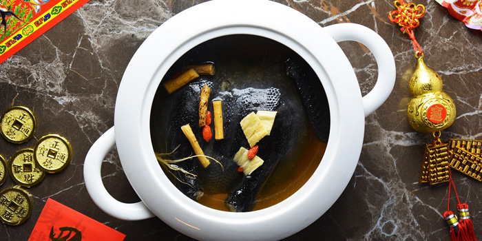 Double Boiled Black Bone Chicken with Bamboo Piths from The Golden Palace at Windsor Suite Hotel Soi Sukhumvit 20, Sukhumvit Rd Khlong Toei Nuea, Watthana Bangkok