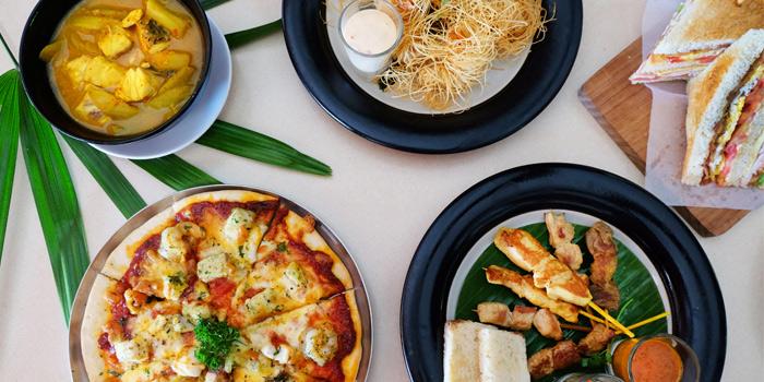 Fruiti-Di-Mare-Pizza,-Gang-Som,-Club-Sandwich,-Mixed-Satay-And-Goong-Sarong from Bambu Restaurant in Chalong, Phuket, Thailand