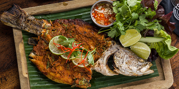Grilled barramundi stuffed with smoked fish curry wild ginger holy basil and lime leaf served with nam pla prik, Mamasan, Central, Hong Kong